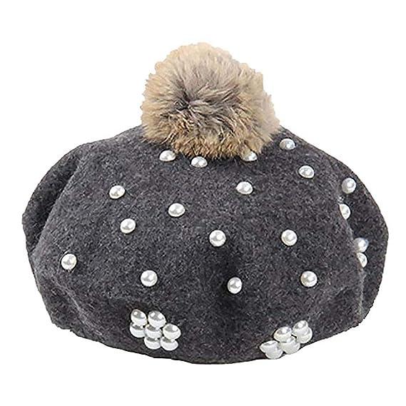 Demarkt Sombrero de Punto de Lana de Boina Mujer Gorras Boinas Sombreros  Fiesta Invierno Otoño Primavera 4c1ca66abab