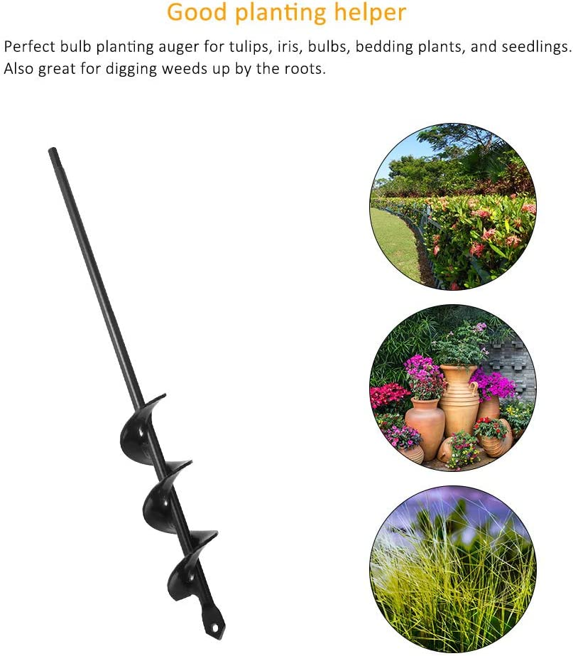 Home Konesky Garden Plant Flower Bulb Auger Planter Machine Drill Bit Umbrella Post Hole Digger Hole Digger Tools for Farm 5 * 45cm Yard