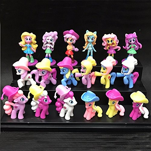 L 18Pcs/Set 7cm My Little Pony Equestria Girls Cake Toppers Doll Action Figure Toy