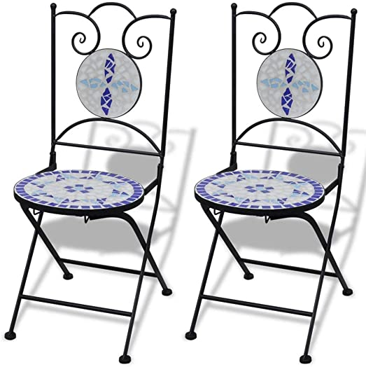 Unfade Memory Mosaic Table and Folding Bistro Chairs Ceramic Terracotta Chair
