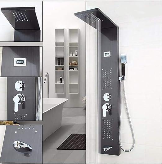 Panel de ducha Columna Pantalla Pintura negra Pintura de acero ...