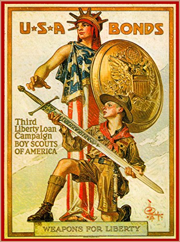 A SLICE IN TIME 1917 Boy Scouts of America Weapons for Liberty WWI USA Bonds American Patriotic Travel Art Souvenir Poster Print. Measures 10 x 13.5 inches