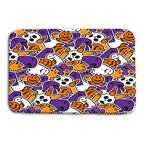 YILINGER Print Washable Fabric Placemats for Dining Room Kitchen Table Decoration 23.6x15.7 inch Happy Halloween Scary Horror Background Happy -