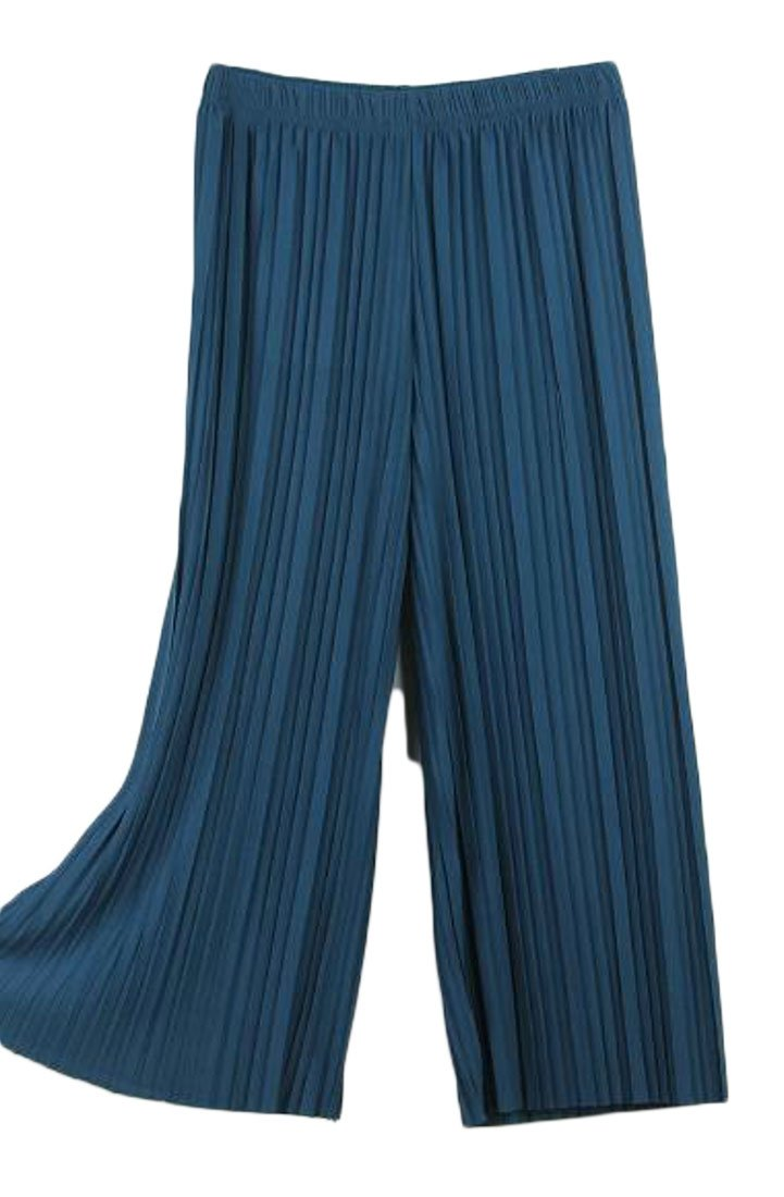 KLJR-Women Casual Wide Leg Linen Pure Color Ruched Elastic Waist Cropped Pants Three One Size