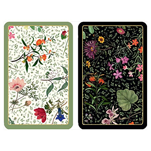 Caspari English Country Garden Large Type Playing Cards, 2 Decks Included