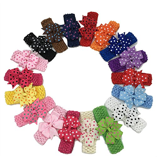XIMA 18pcs Crochet Bow Headbands Ploka dot Ribbon Hair Bows Hairbands for Hair Accessories