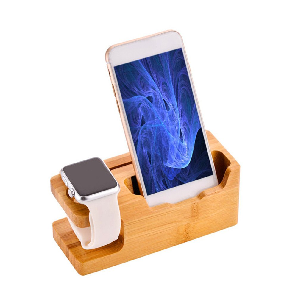 For Apple Watch Stand,Gentman 3 USB Ports Bamboo Charging Station Dock Charger Holder Desktop Organizer Stand for Apple Watch iPhone iPad Smartphones Tablets Laptops