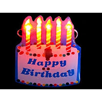 Mammoth Sales 5 PC LED Flashing Happy Birthday Cake Light Up Party Pins Brooch: Toys & Games