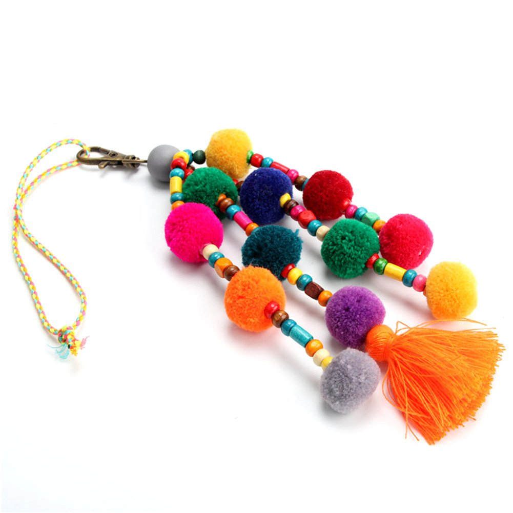 QTMY Pom Pom Beads Tassel Bag Pendant Charm Keyring Keychain for Women Purse Handbag Decor by QTMY