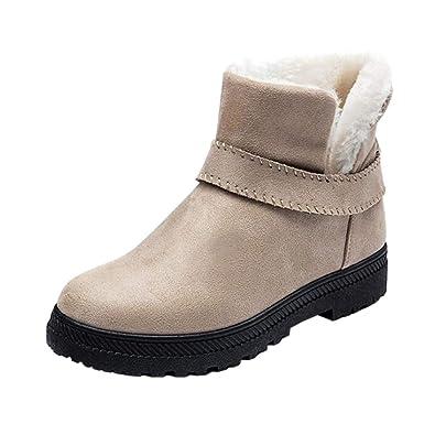 a0ad5cc697aa Deylaying Chaussures de Hiver Femmes Ladies Neige Bottes - Baskets Plat  Enfiler Arborer Chaudes Nubuck Suede