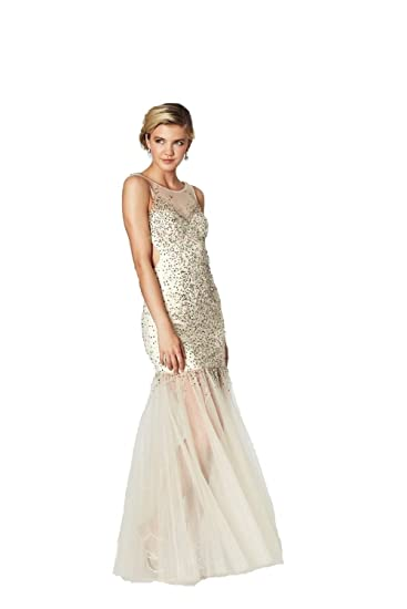 Tiffanys Illusion Prom Nude Erin Prom Dress with Sheer Skirt UK 6 (US 2): Amazon.co.uk: Clothing