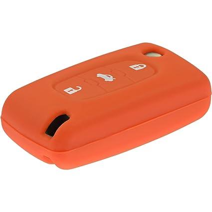 PhoneNatic Funda de Silicona para Mando de 3 Botones de Peugeot 307/408 / 407/607 en Naranja Llave Plegable de 3-Key