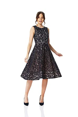 50ca17be567 Roman Originals Women Lace Skater Dress - Ladies Fit and Flare Evening  Occasion Wear Round Neck Sleeveless Floral Knee Length Classic Elegant  Dresses  ...