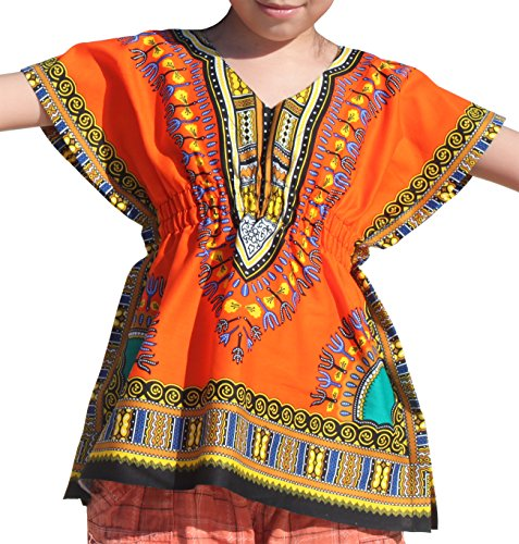 Raan Pah Muang Childrens Afrikan Pull in Bright Dashiki Print V-Neck Cotton Shirt, Medium, Orange
