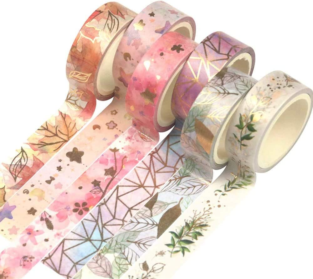 Crafts picidae Washi Tape Set 6 Rolls Gift Wrapping Holiday Decoration Floral Gold Foil Masking Tape Decorative Craft Masking Adhesive Tapes for DIY Scrapbooking