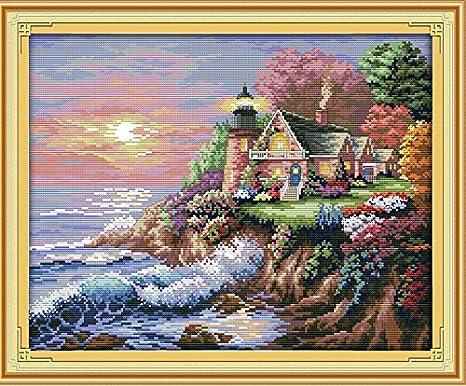 Joy Sunday Cross Stitch Kit 14CT Stamped Embroidery Kits Precise Printed Needlework Bear Family 46/×37CM