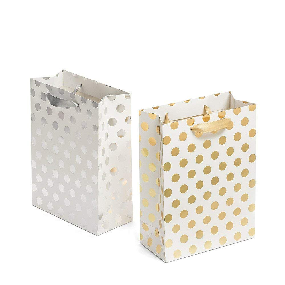 Gift Bags 8x4.75x10.5 Medium Paper Shopping Bags 12 Pack - 6 Gold and 6 Silver Gift Bags Polka Dot Perfect for Weddings, Birthday and Graduation Presents, Gift Wrap Bags