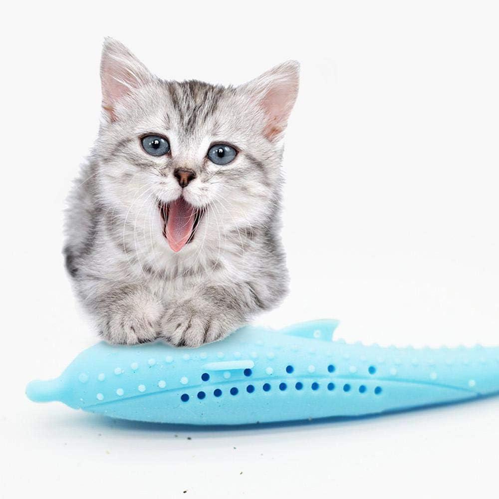 Perfuw - Juguetes para gatos con forma de pez, juguetes de pesca rellenos de hierba gatera, suministros interactivos para morder y eliminar el estrés, cepillo de dientes para gato, gatito o gatito: