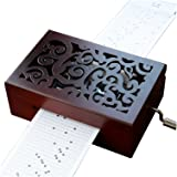 YouTang Vintage Carved Wood 30 Note Mechanism Musical Box Handcrank Music Box Gift