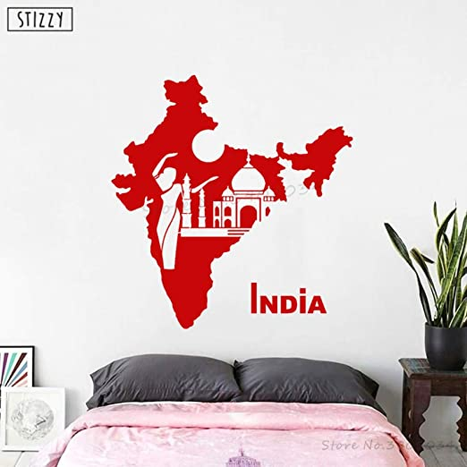 zhuziji Tatuajes de Pared Diseño Moderno India Mapa Vinilo ...