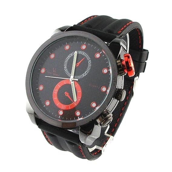 fashionpifa rojo pantalla Digital de moda reloj de cuarzo con correa de goma negra (hombre