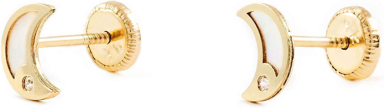 Boucles dOreilles Enfant la lune nacre et zircone Or Jaune 9 Carats