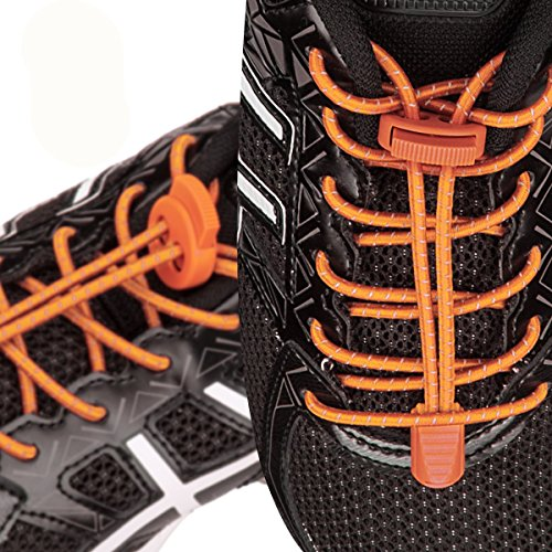 with Hiking Lock 3 for Climbing Reflective Elastic Shoes for Quick System Running Lacing Orange Tie Running Pairs Kids and Laces Shoe Adults Shoelaces No w08SqwB