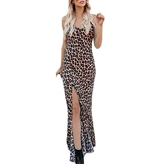 9d9e7367ad Womens Leopard Print Maxi Dress Spaghetti Straps Sleeveless V Neck Split  Dresses (S