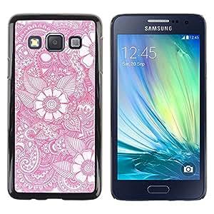 Caucho caso de Shell duro de la cubierta de accesorios de protección BY RAYDREAMMM - Samsung Galaxy A3 SM-A300 - Wallpaper Pink White Pattern Spring