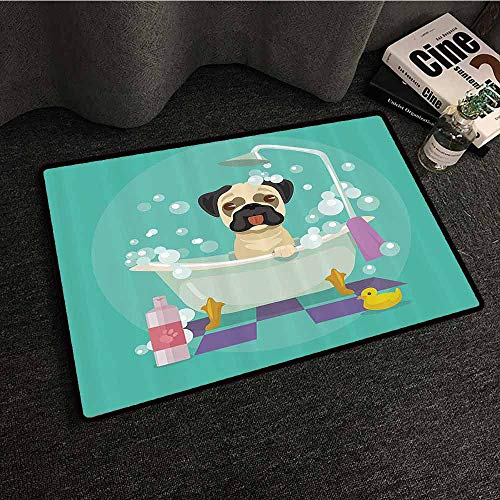 Nursery Decor Collection Outdoor Door mat Pug Dog in Bathtub Grooming Doggy Puppy Salon Service Shampoo Rubber Duck Pets Cartoon Image Easy to Clean W24 xL35 Teal
