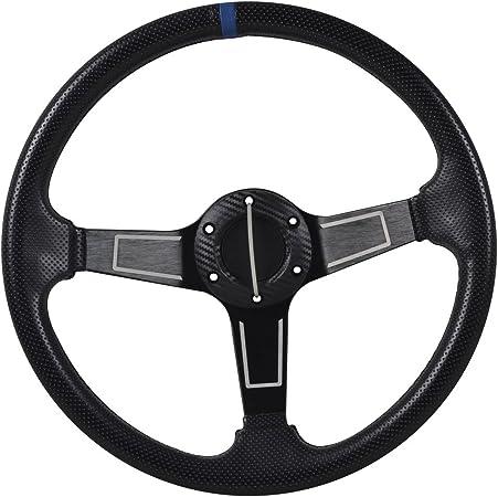 Universal Fitment 350MM PVC 6 Hole Steering Wheel Deep Dish Black Spoke Blue Ring /& Black Emblem by IKON MOTORSPORTS