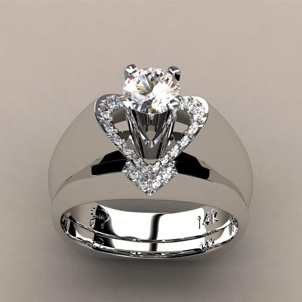 Retro Daisy Summer Flower Engagement Ring Plum Blossom Eternity Wedding Band Finger Rings Size 5-10 Haluoo 925 Sterling Silver Ring
