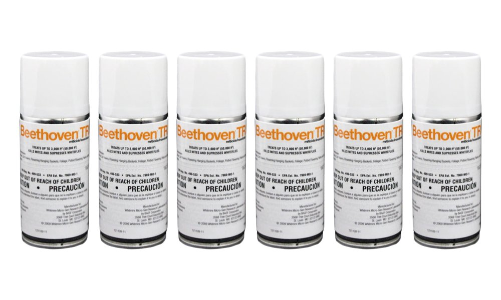 Beethoven TR 2 oz (6 Count) Total Release Insecticide Miticide Aerosol Fogger Spider Mite Killer Bomb Whitefly Mites Pest Control by BASF