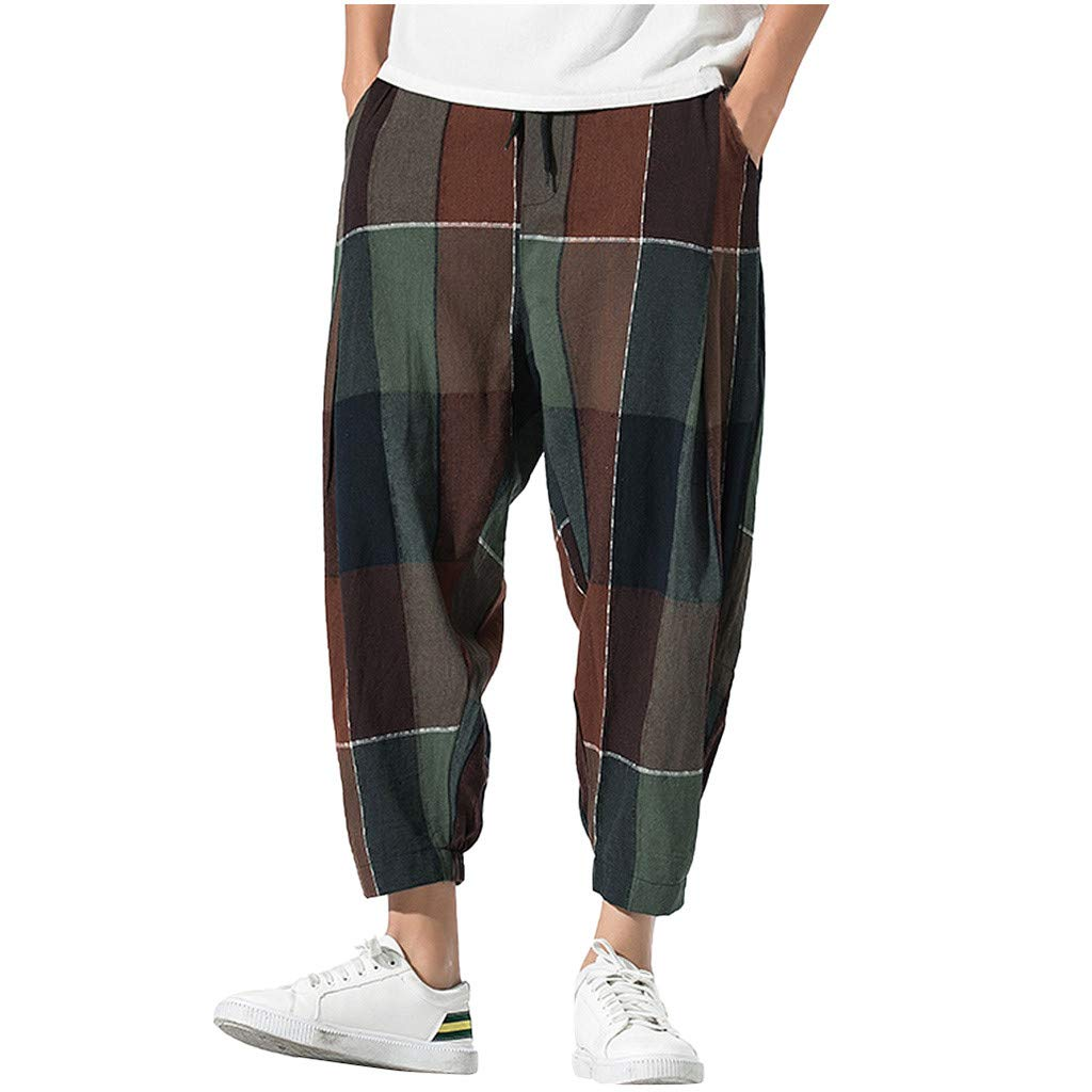 Allywit Men's Casual Vintage Loose Cotton Linen Plaid Patchwork Baggy Sweatpants Trousers for Men Coffee