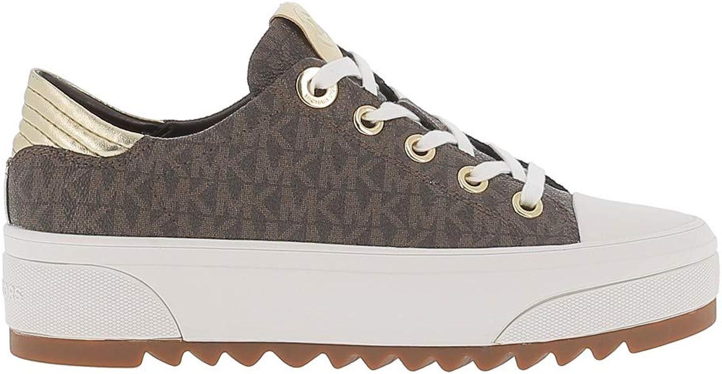 Michael Kors Keegan - Zapatillas de Piel sintética con Logotipo Impreso, Color marrón
