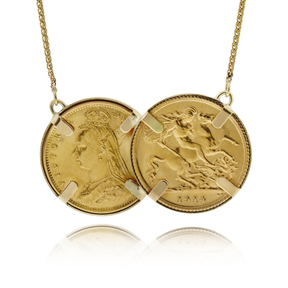aab1a6905731c Original 22ct Gold Two Coin Half Sovereign Holly Willoughby Necklace ...