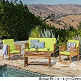 Great Deal Furniture Caresta Outdoor 4 Piece Brown Patina Acacia Wood Sofa Set with Light Green Water Resistant Cushions For Sale