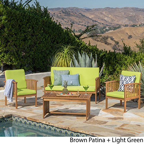 Great Deal Furniture Caresta Outdoor 4 Piece Brown Patina Acacia Wood Sofa Set with Light Green Water Resistant Cushions