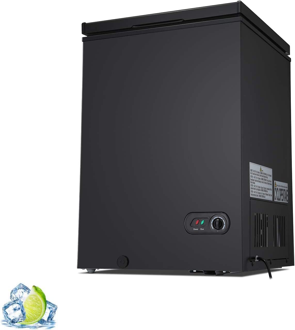 R.W.Flame Commercial Chest Freezer 3.5 Cubic Feet with 2 Removable Basket,Adjustable Temperature,Energy Saving,Black
