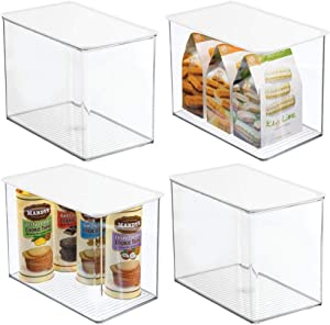 mDesign Plastic Stackable Kitchen Pantry Cabinet or Refrigerator Food Storage Container Bin Box with Lid - Organizer for Snacks, Produce, Pasta - Deep Container - 4 Pack - Clear/White Lid