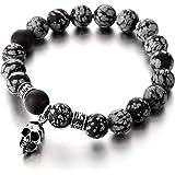 Gothique Diable - Crâne Bracelet Homme - 11MM Mat Onyx Perles - Acier Inoxydable -Tête de mort