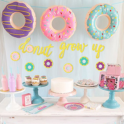 Glitter Donut Grow Up Banner Party Garland Kids Birthday Decorations No DIY Required