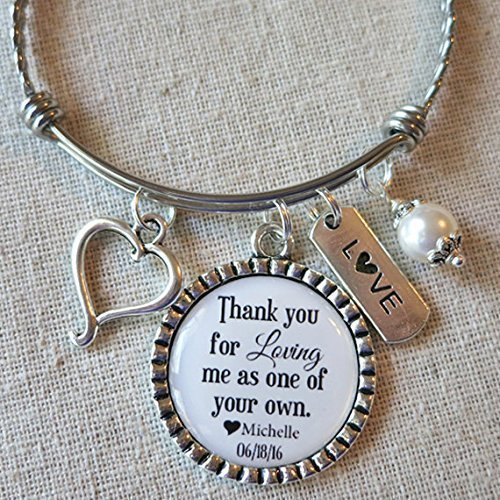 Personalized Stepmom Birthday Gift Stepmother Of The BRIDE Bangle Thank You For Step