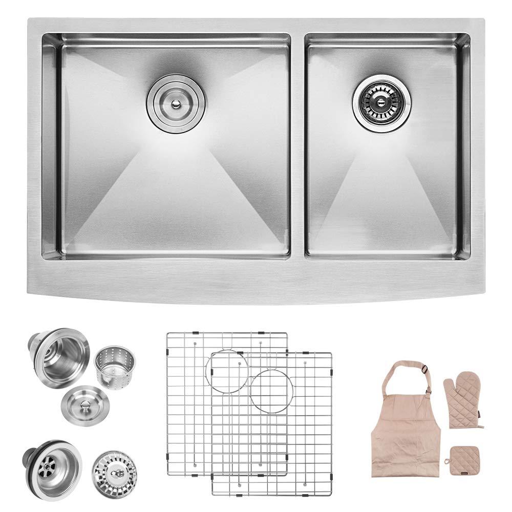 LORDEAR LA3321R2-64 33 inch Farmhouse Apron 60/40 Deep Double Bowl 16 gauge Stainless Steel Kitchen Sink