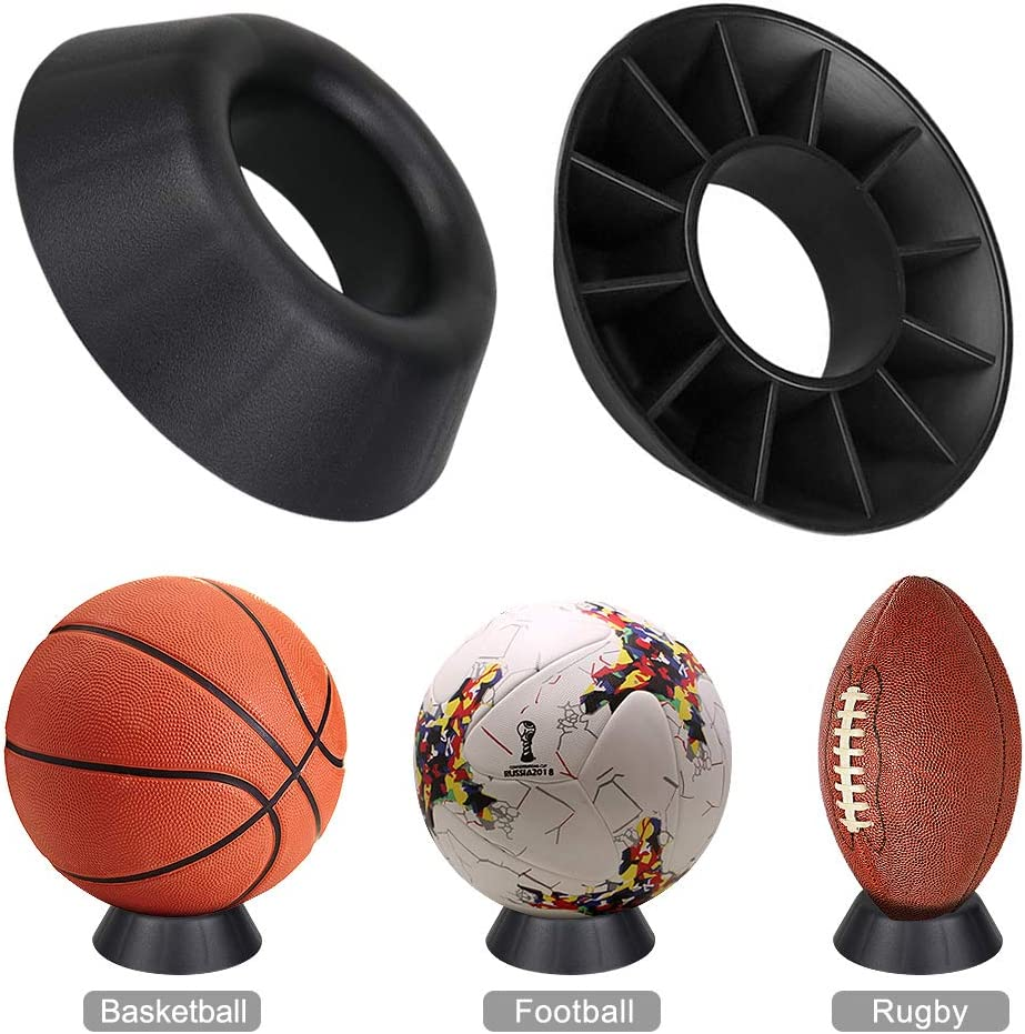 Plastic Round Ball Holder Sports Ball Rack Wall Mount for Soccer Soccer Basketball Rugby Hysagtek 3 Pieces Ball Stand Ball Display Holder with Storage Net Volleyball