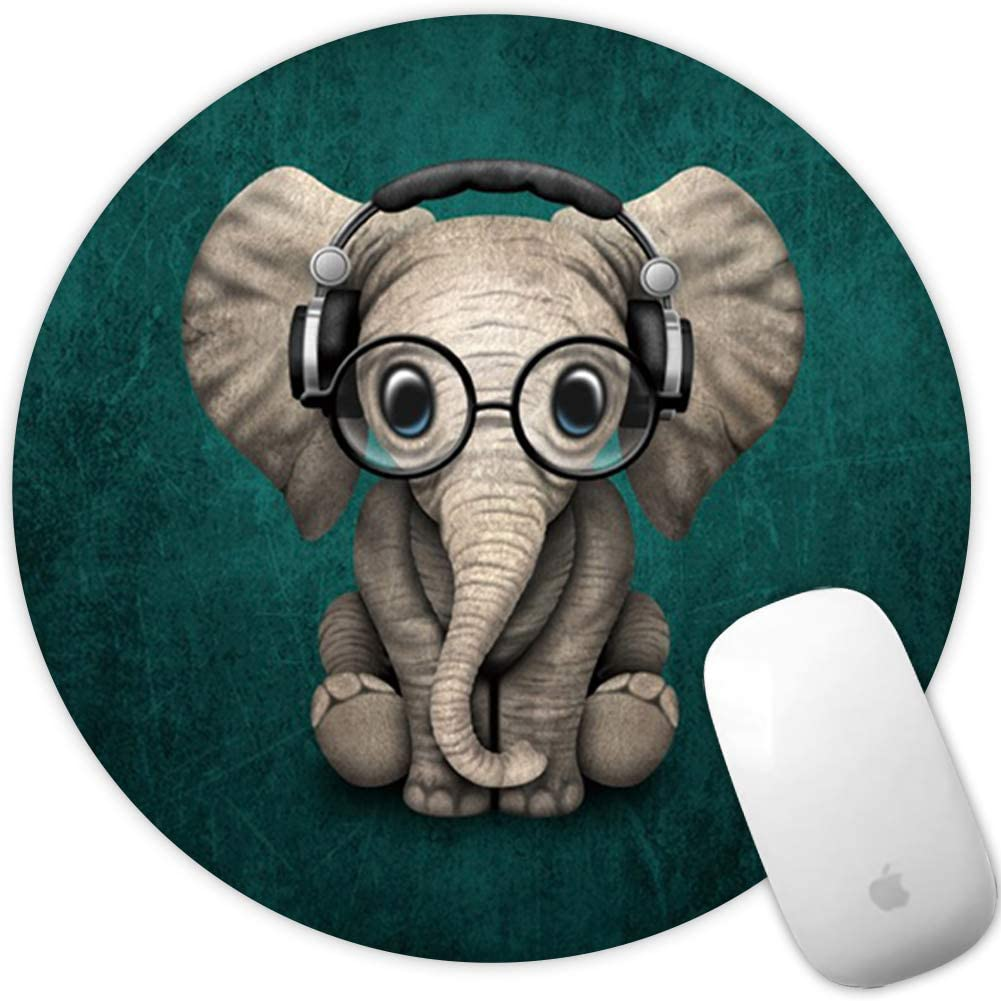 Marphe Mouse Pad Green Pattern Headset Music Elephant Mousepad Non-Slip Rubber Gaming Mouse Pad Round Mouse Pads for Computers Laptop
