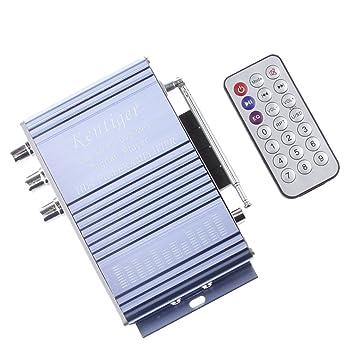 Sharplace Amplificador Estéreo HiFi Reproductor de Audio MP3 con Mando Distancia para Coche