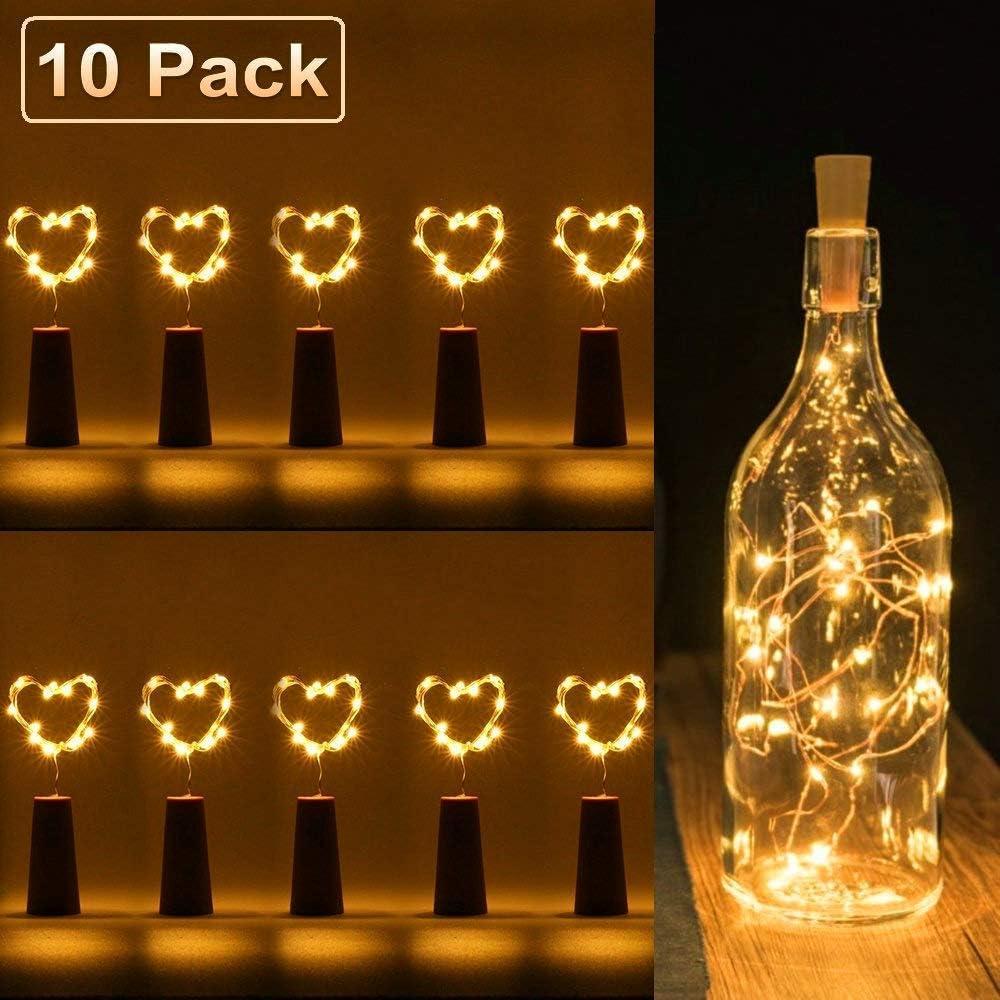 luz de botella, luz de bricolaje, luz ambiente, lámparas decoradas, Súper brillante y ecológico, 20 LED luces botella para entorno romántico en boda, fiestas, Navidad -blanco cálido(10 PCS)