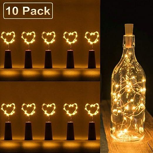luz de botella, luz de bricolaje, luz ambiente, lámparas decoradas, Súper brillante y ecológico, 20 LED luces botella para entorno romántico en boda, ...