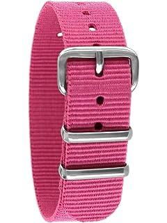 Uhrenarmband Nylon pink schwarz grau 22 mm NATO BAND Dornschließe Texil